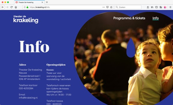 Screenshot van de website van Theater de Krakeling
