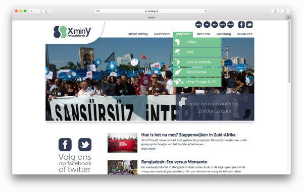 Screenshot van de XminY website